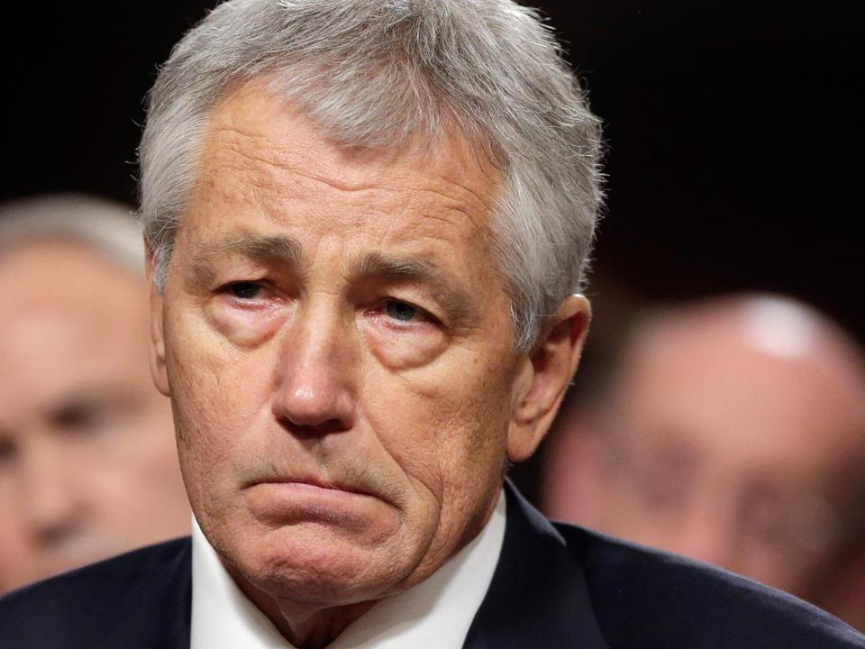 Chuck Hagel is a former two-term Nebraska Republican senator and twice-wounded combat veteran in Vietnam.