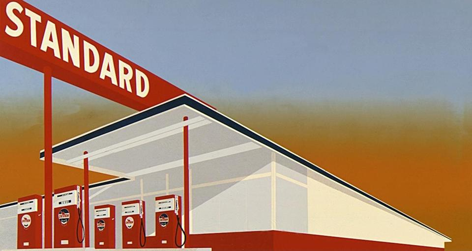 """Standard Station"" (1966), a screenprint from the exhibit ""Ed Ruscha: Standard"" at the Rose Art Museum at Brandeis University."