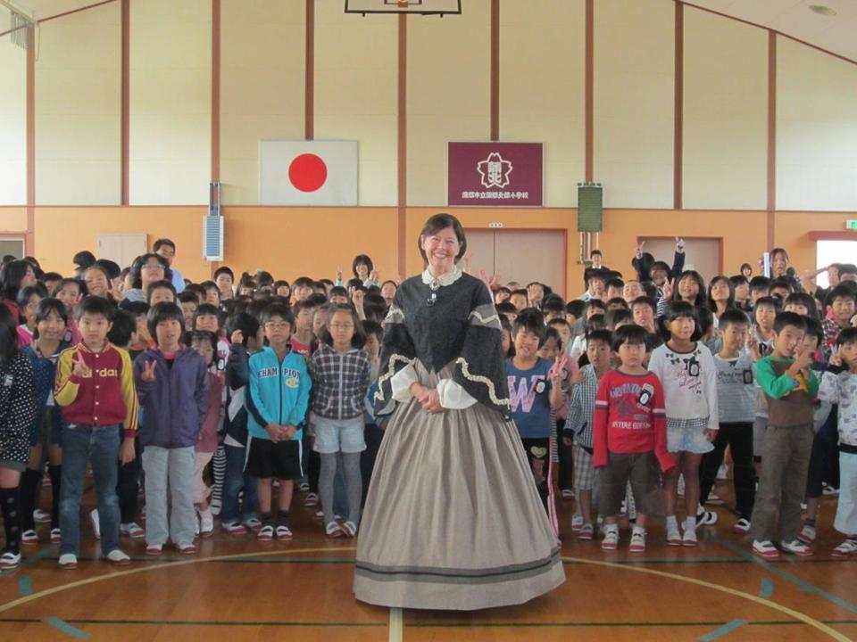 Concord resident Jan Turnquist, director of Louisa May Alcott's Orchard House, recently performed her one-woman act as Alcott at Japanese schools.