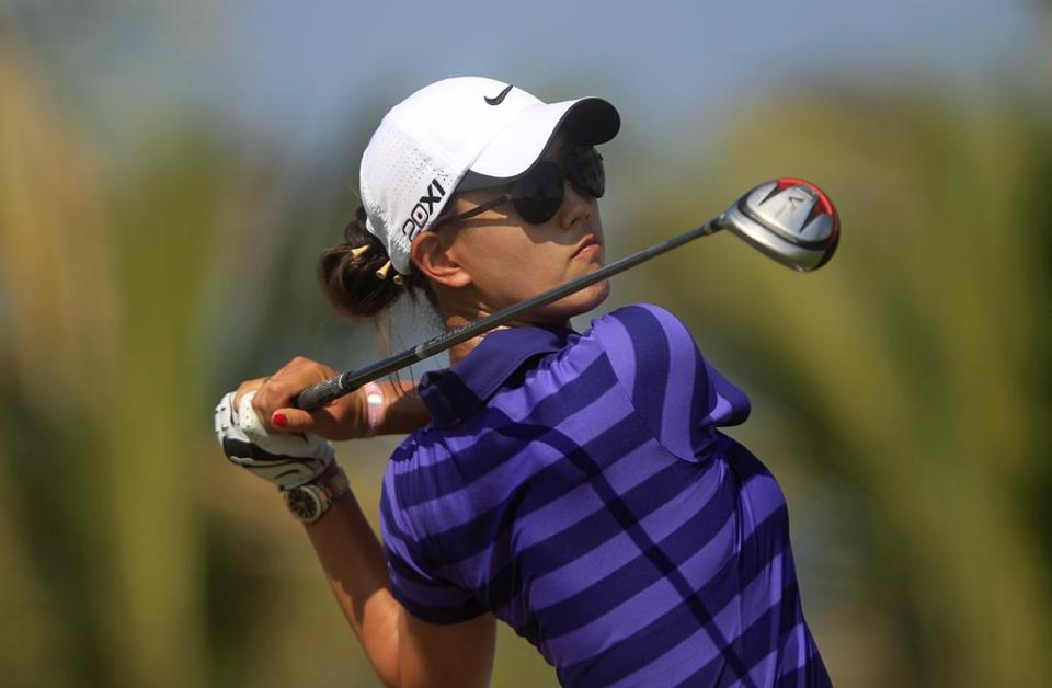 Michelle Wie watched her shot from the 13th tee during the Dubai Ladies Masters in December.