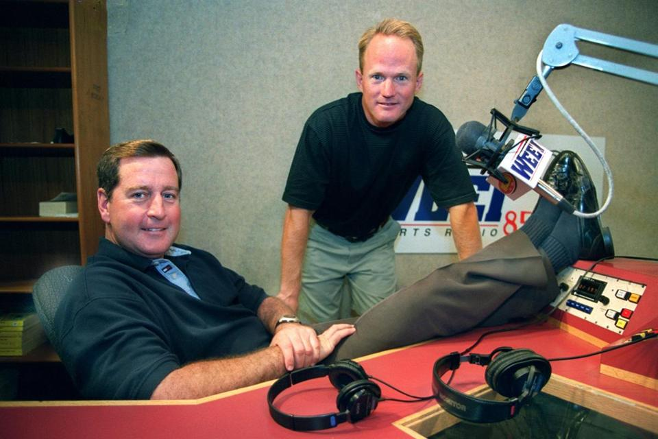 Hosts John Dennis (left) and Gerry Callahan