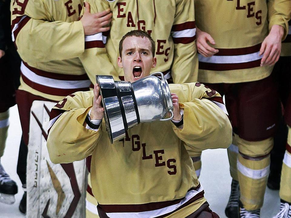 BC's Parker Milner won the best goalie award, but it was the Beanpot that he was more happy to get his hands on.