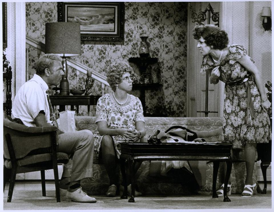 "From left: Harvey Korman as Ed, Vicki Lawrence as Mama, and Carol Burnett as Eunice in a skit from ""The Carol Burnett Show."" Below: Lawrence as Mama in 2003."