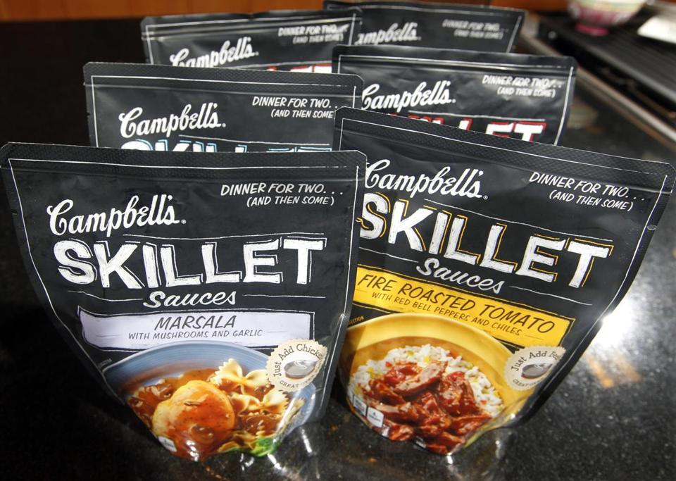 Campbell's Skillet Sauces can be mixed with fresh meat and veggies. It takes 15 minutes to prepare the meals.