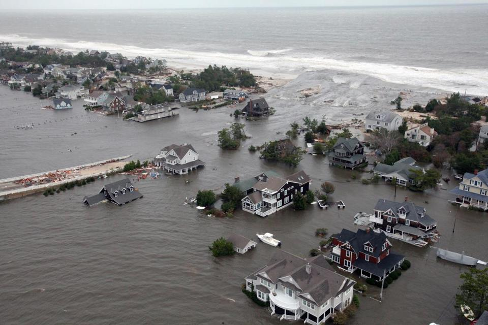 Flooding on the New Jersey shoreline following Superstorm Sandy.