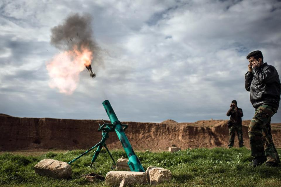 Syrian rebels fired a mortar toward government forces stationed at Kwiriss airport, about 20 miles fromAleppo in northeastern Syria on Thursday.