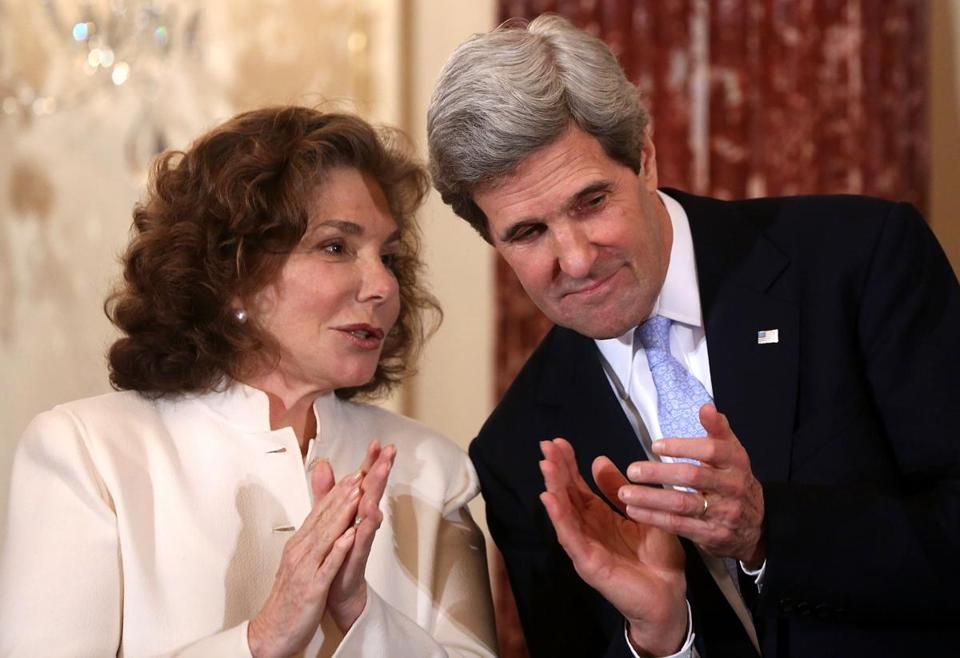 Secretary of State John Kerry listened to his wife, Teresa Heinz, during his ceremonial swearing-in.