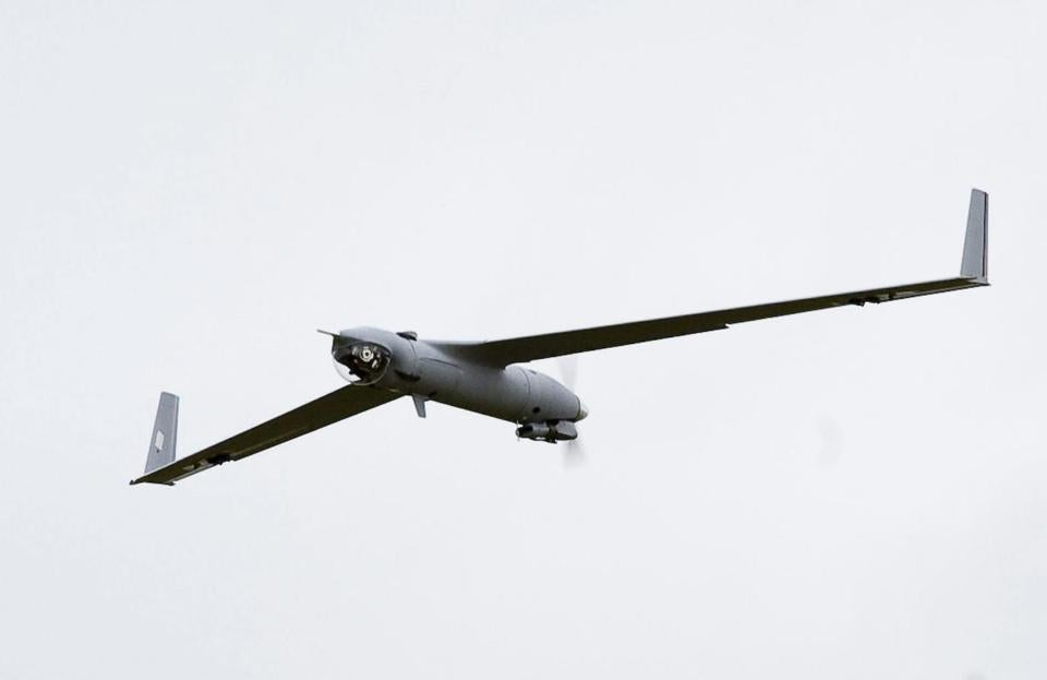 A small, unmanned aerial vehicle, during a demonstration at a Navy testing facility in Dahlgren, Va.