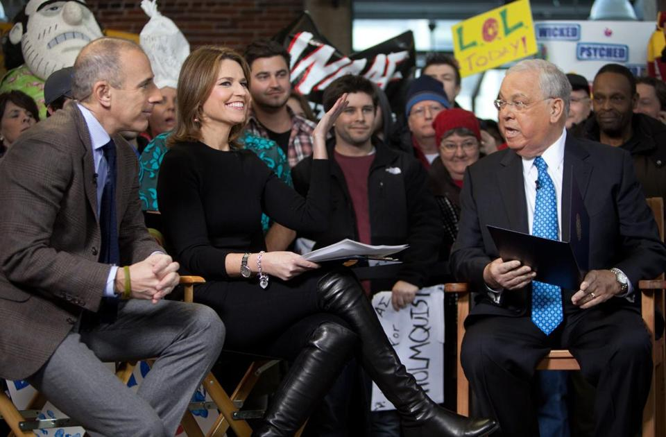 "Hosts Matt Lauer (left) and Savannah Guthrie interviewing Mayor Tom Menino during NBC's broadcast of the ""Today"" show from Faneuil Hall on Friday morning."