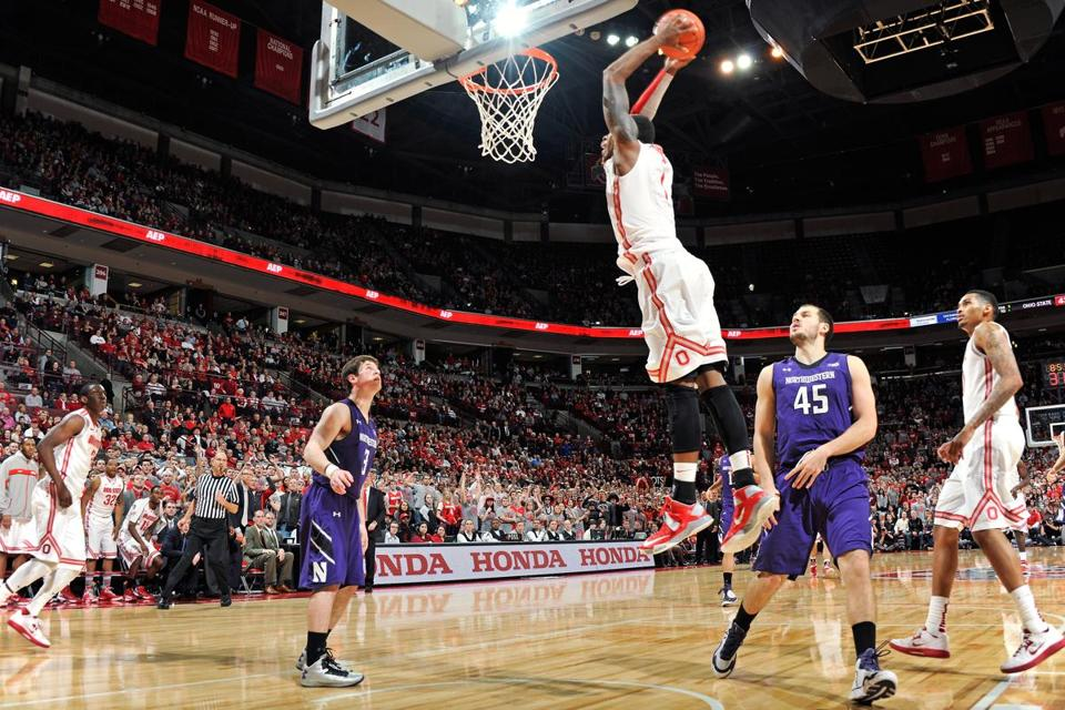Deshaun Thomas of the Ohio State Buckeyes dunked for two of his game-high 22 points in the second half against the Northwestern Wildcats on February 14, 2013 at Value City Arena in Columbus, Ohio.