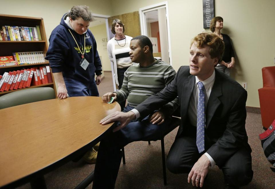 Congressman Joseph P. Kennedy III greeted people at the Seven Hills Foundation's new facility in Milford. Seven Hills offers a program for those with developmental disabilities.
