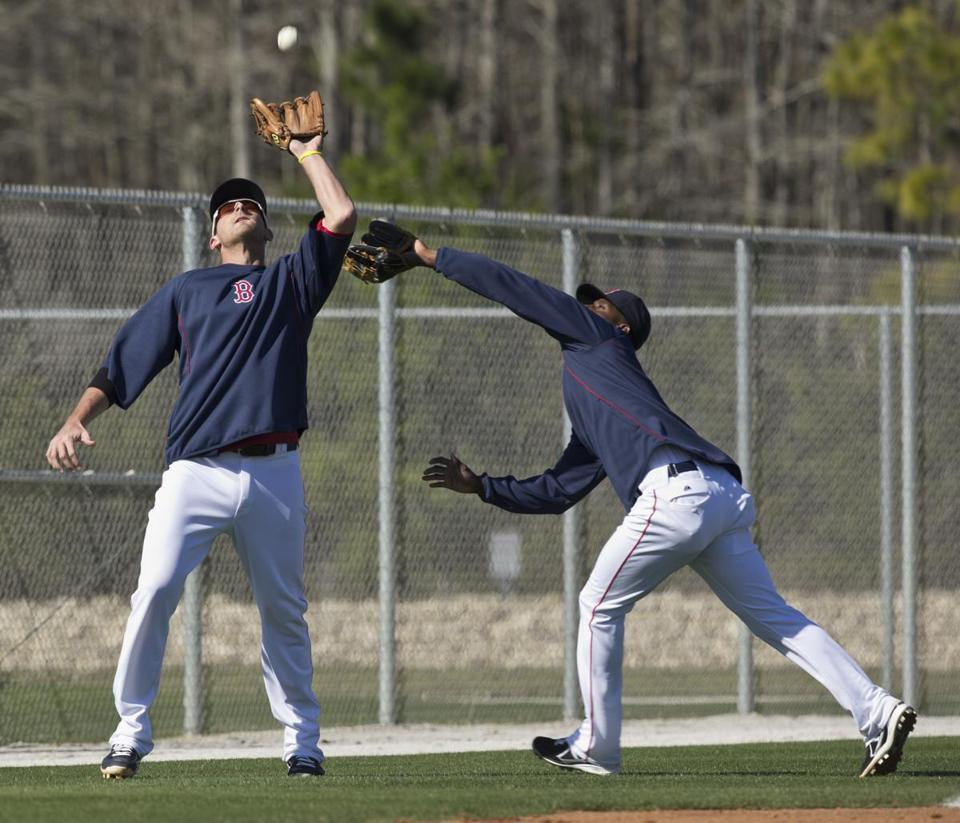 Will Middlebrooks has enough concentration to make a catch in front of a charging Pedro Ciriaco during a popup drill.