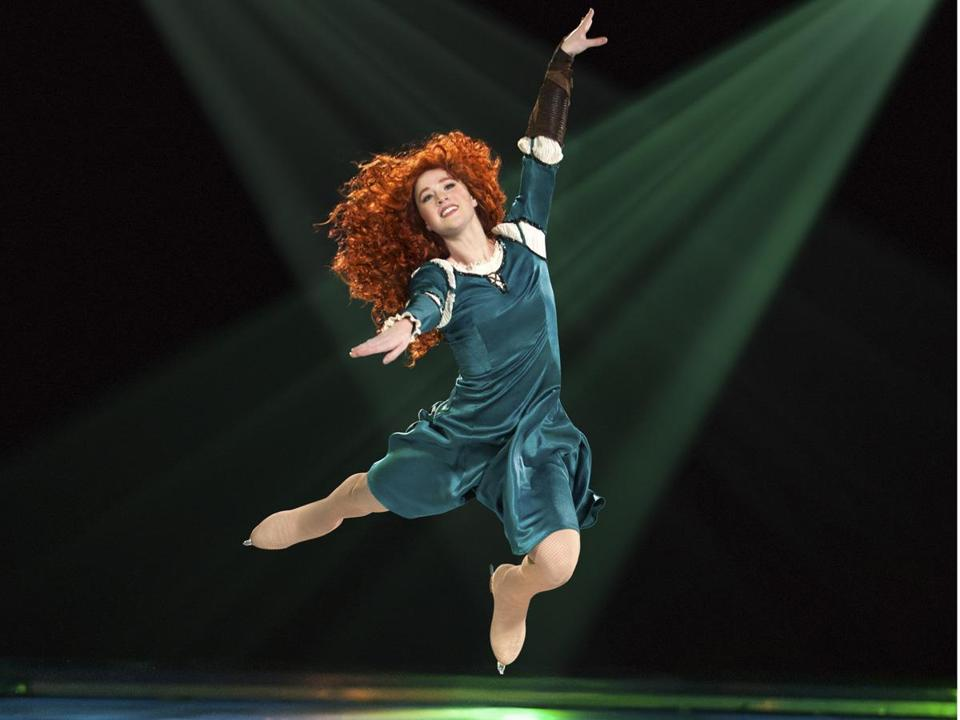 "Scenes from Disney's ""Brave,"" featuring the independent-minded Merida (above) open the second act of Disney on Ice's ""Rockin' Ever After."""