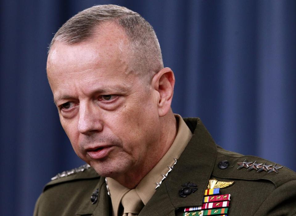 General John Allen speaks during a March 2012 news conference at the Pentagon.