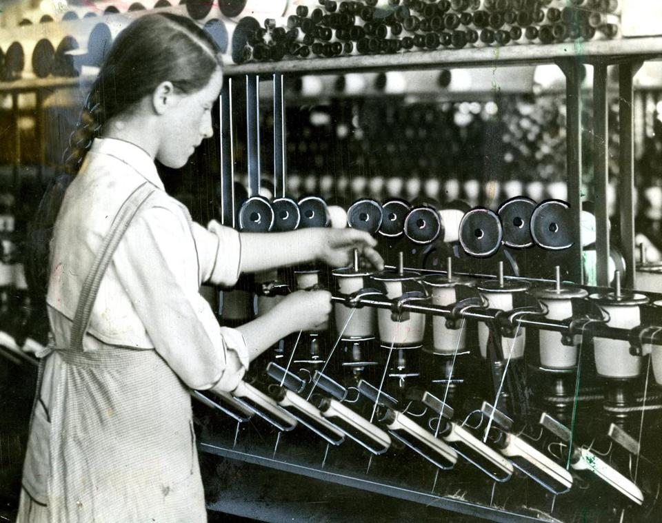 A 14-year-old tends spools at a Massachusetts cotton mill in 1916. Visiting these factories today can remind us that children are capable of contributing much to housework.