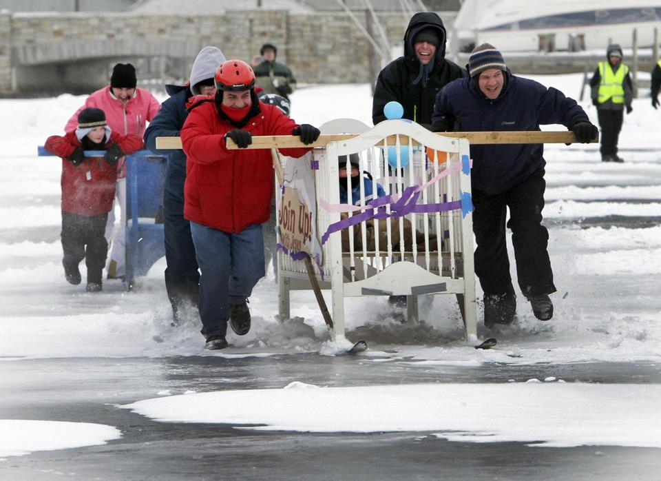 Winter brings fun for some Bed Race contestants on Lake Winnipesaukee in Alton, N.H.