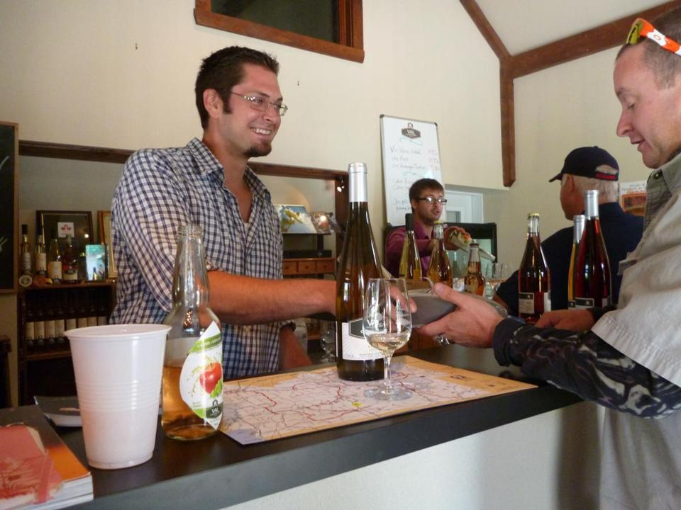 Guillaume Leroux, left, and his partners started Val Caudalies southwest of Montreal in 2004 — where apple trees had grown. The winery opened in 2007 and produces 40.000 bottles a year of rosé, cider, and white wine.