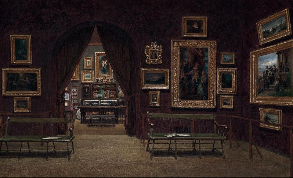 "Enrico Meneghelli's painting ""Picture Gallery of the Boston Athenaeum"" (1876) shows the museum's early efforts to garner a ""general . . . collection in every branch of knowledge,"" extending to a ""Repository of Arts."""