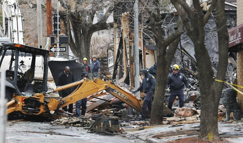 Crews sifted through the rubble of the restaurant on Wednesday as they searched for more possible victims of the blast.