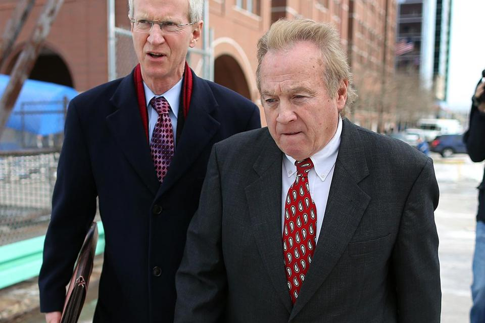 Michael McLaughlin (right) left Moakley Federal Court House in South Boston after a hearing Tuesday.