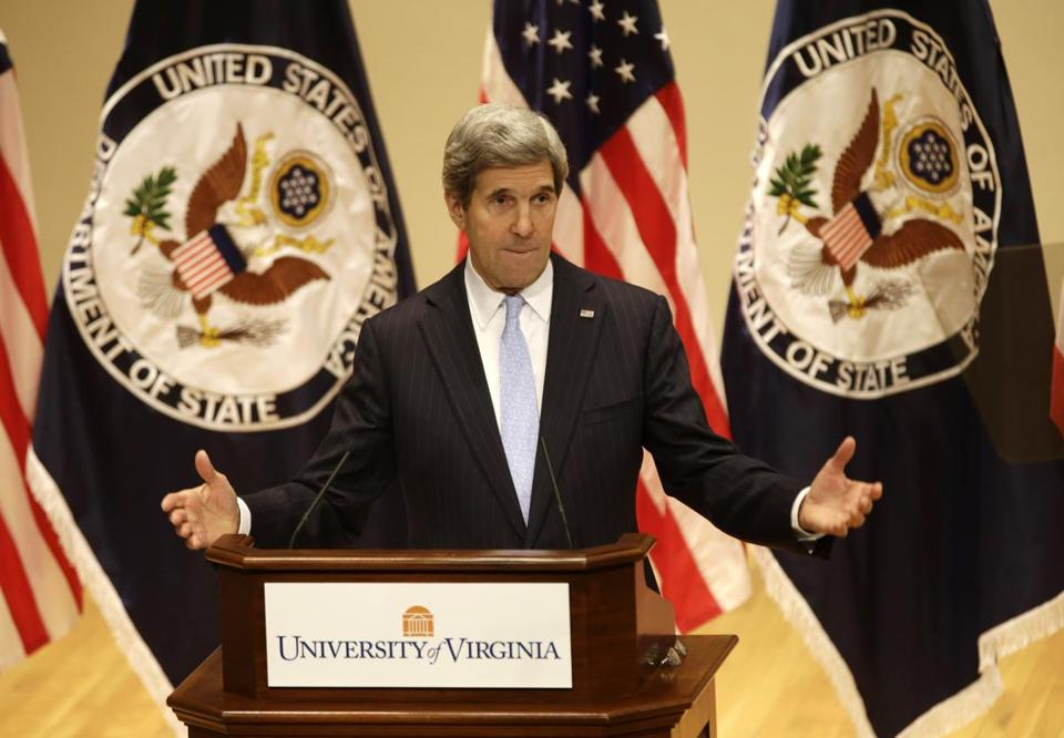 John Kerry gestures on Feb. 20, 2013, as he delivers his first foreign policy speech as Secretary of State at the University of Virginia.