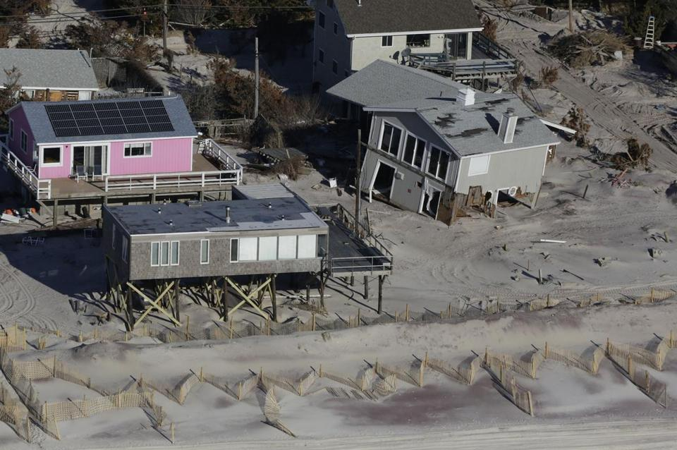 A view of homes on Fire Island on Jan. 18 still showed damage from Superstorm Sandy, which struck at the end of October.