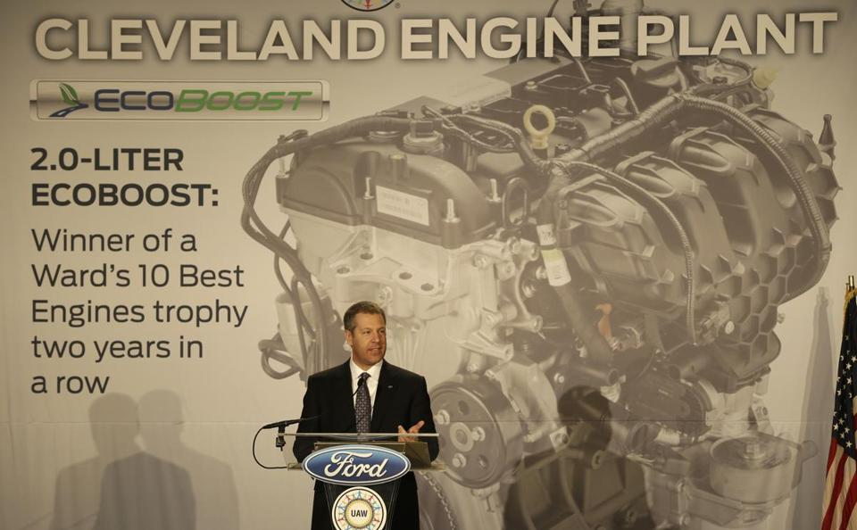 Ford official Joe Hinrichs told of plans to build EcoBoost engines at a Cleveland factory.