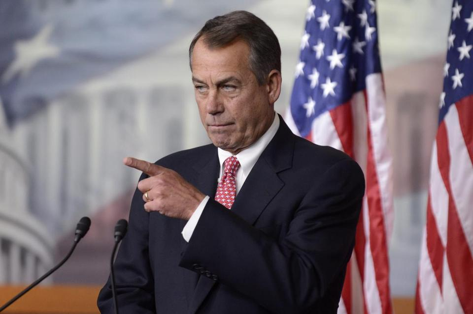 House Speaker John Boehner responded to a question during a news conference on Capitol Hill on Feb. 14.