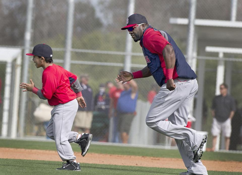 Red Sox DH David Ortiz raced his son D'Angelo Ortiz, 8, at JetBlue Park.