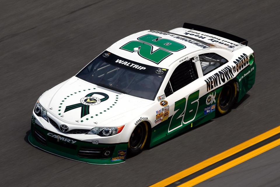 Michael Waltrip, drove the No. 26 Sandy Hook School Support Fund Toyota during practice for the NASCAR Sprint Cup Series Daytona 500 at Daytona International Speedway on February 16, 2013 in Daytona Beach, Florida.