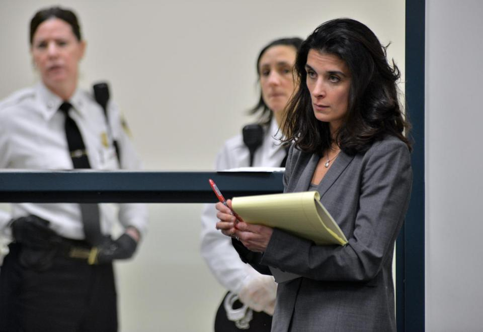 Lawyer Melinda Thompson in court Friday. Her client, Aisling McCarthy Brady, is hidden.
