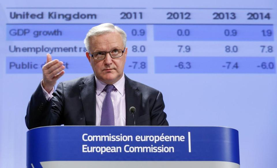 "Olli Rehn, EU commissioner for economic and monetary affairs, says prospects for growth in many parts of the union were ""very disappointing.''"