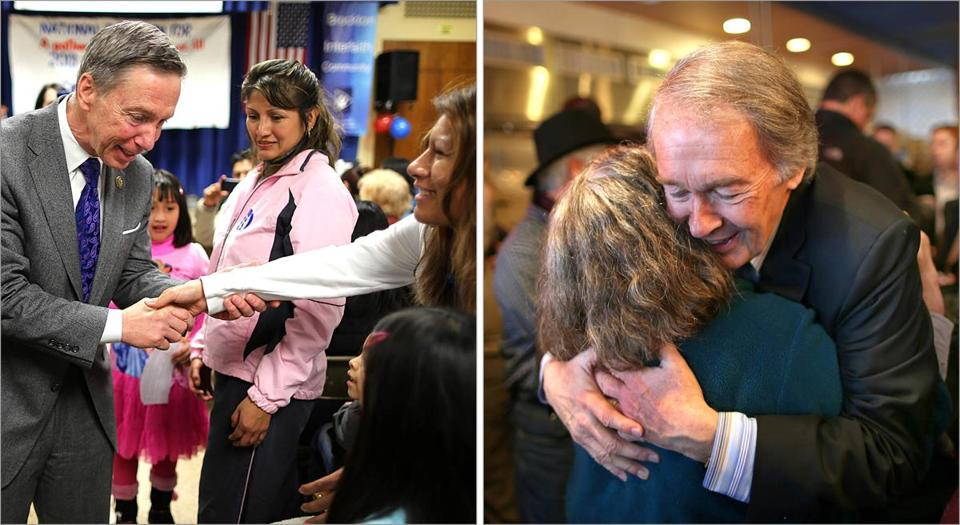 Left: Stephen Lynch greeted a crowd in Brockton at St. Patrick Parish hall on Saturday. Right: In Newton, Edward Markey stopped in a restaurant to meet with potential voters.