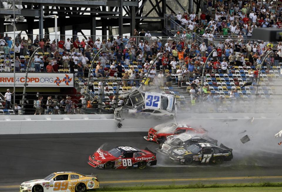 Kyle Larson's car went airborne into the catch fence in a multi-car crash at Daytona Saturday.