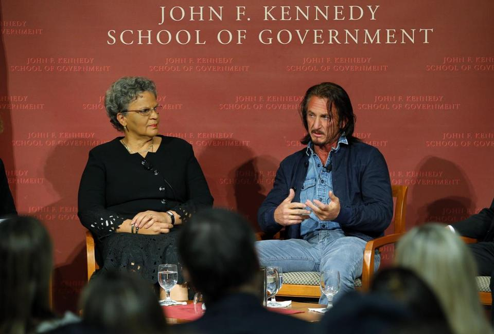 Former Haitian prime minister Michèle Pierre-Louis and Sean Penn at Harvard's Kennedy School Tuesday.