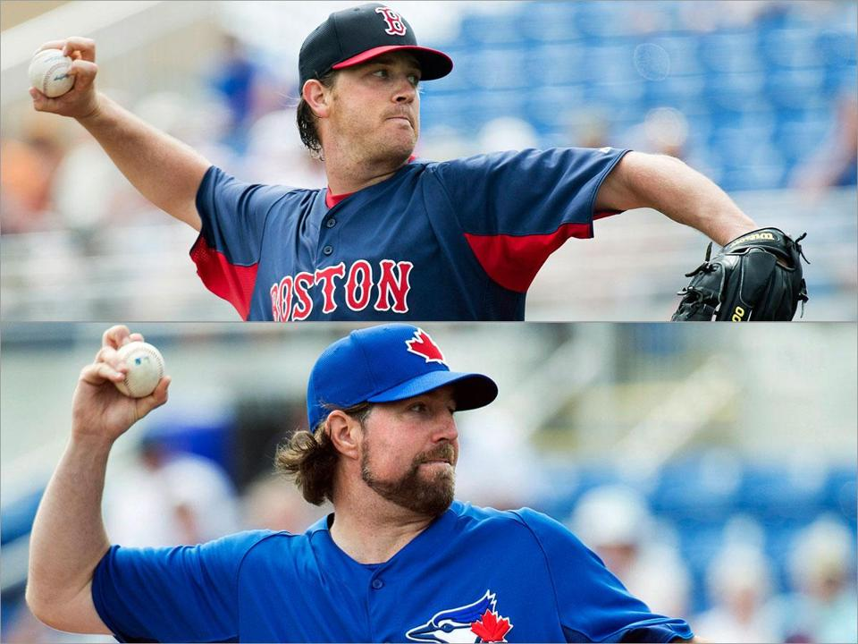 A gripping drama: knuckleballers Steven Wright (top) and R.A. Dickey face off.
