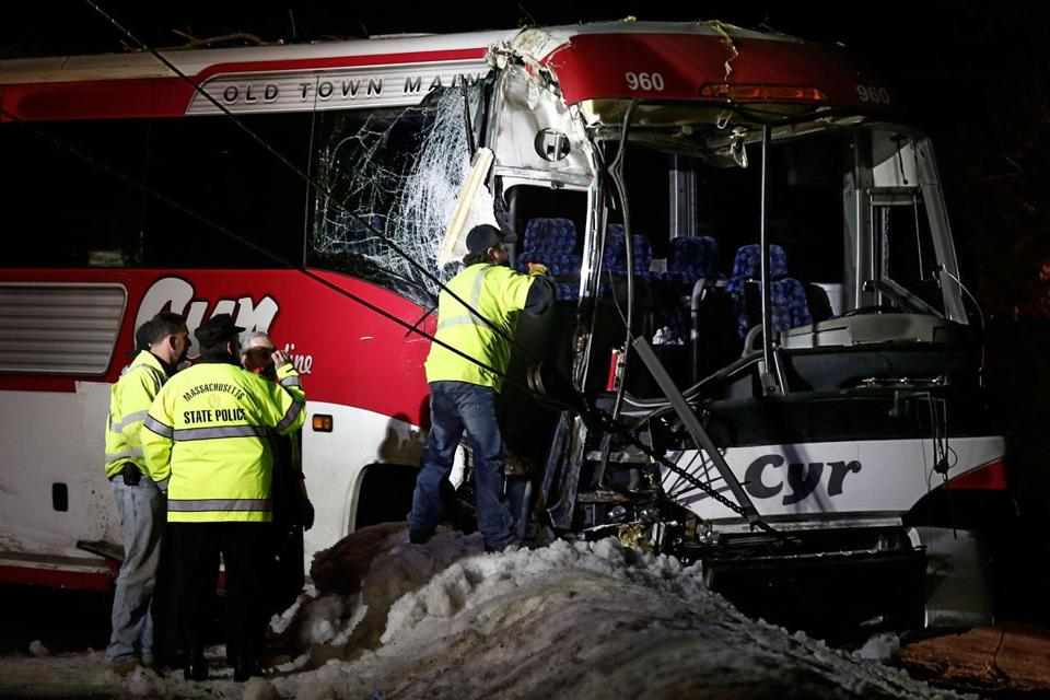 The Maine team bus was pulled from woods off Interstate 95.
