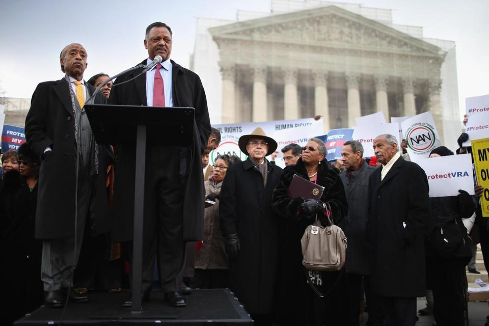 The Rev. Jesse Jackson and the Rev. Al Sharpton (left) spoke at a rally on the steps of the US Supreme Court on Wednesday.