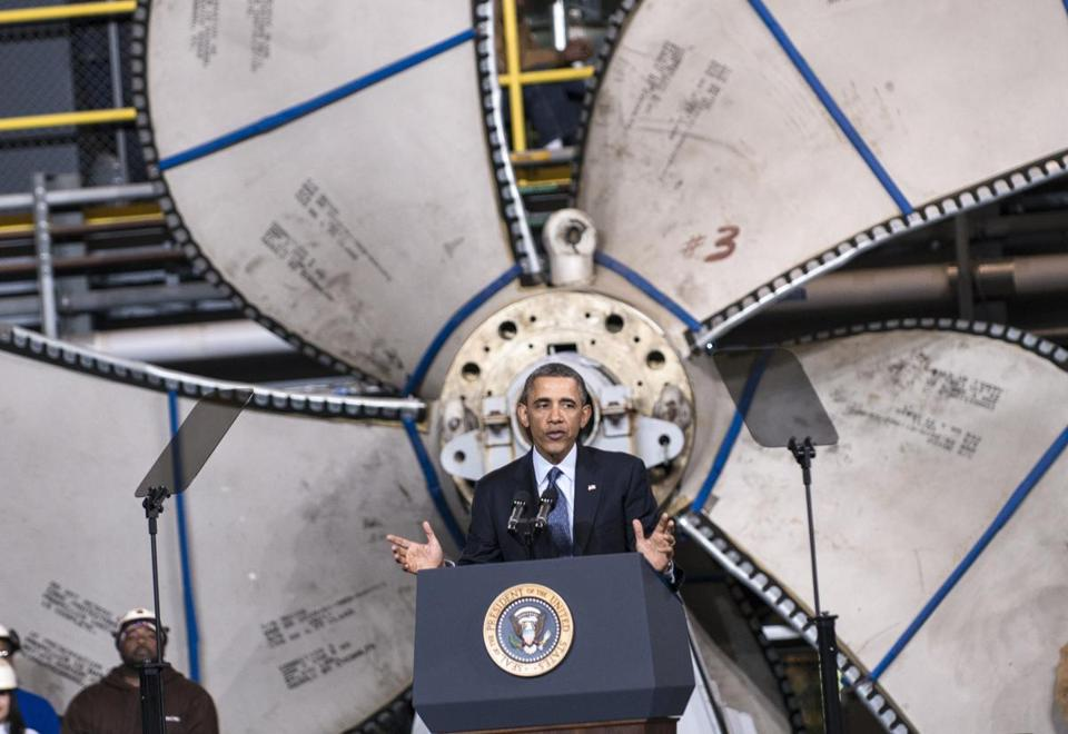 President Obama, speaking at a shipyard where the nation's aircraft carriers are built, blasted Washington politics for the budget impasse and the threat it presents to workers' jobs.