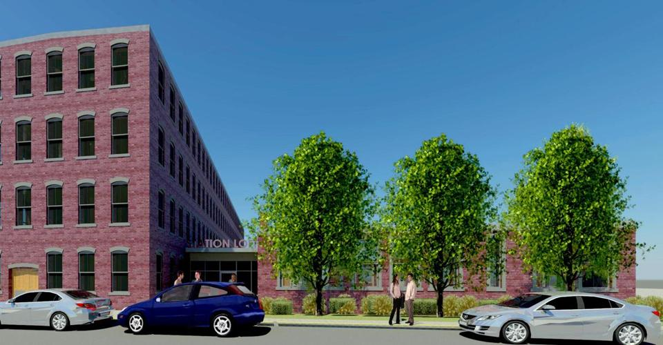 An artist's rendering of a renovated Knight building in Brockton.