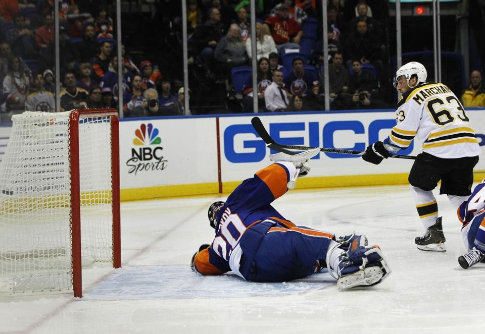 Brad Marchand scored against Islanders goalie Evgeni Nabokov in the second period.