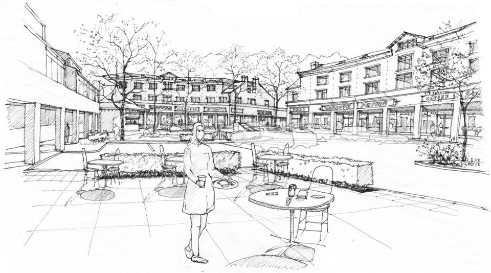 A sketch of the mixed-use redevelopment proposed for the Millbrook Tarry property on Lowell Road in Concord.