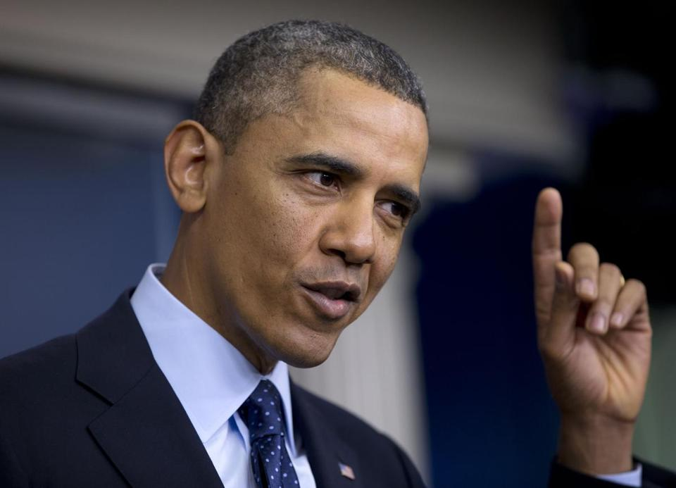 President Obama spoke to reporters in the White House briefing room on Friday.