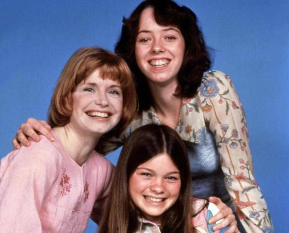 "Bonnie Franklin, left, is seen with Mackenzie Phillips, top, and Valerie Bertinelli, who starred in ""One Day at a Time"" from 1975 to 1984."