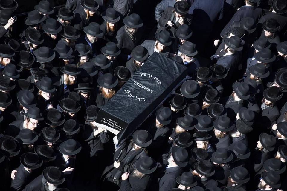At least 1,000 people attended the funeral for the couple, both 21, at the Congregation Yetev Lev D'Satmar synagogue.