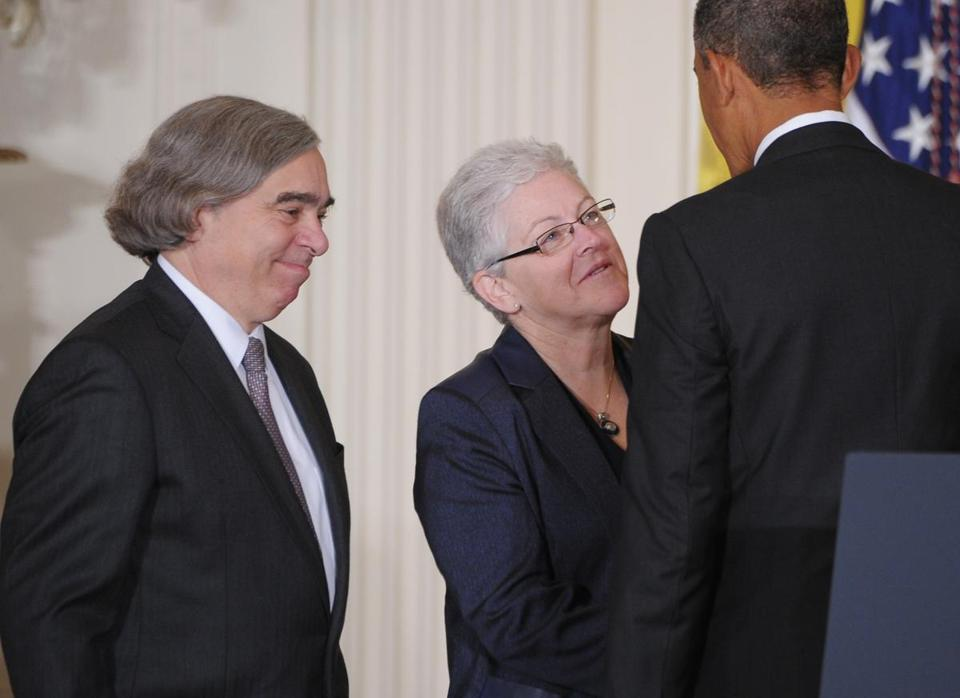 Ernest J. Moniz would lead the Energy Department; former state official Gina McCarthy would run the EPA.