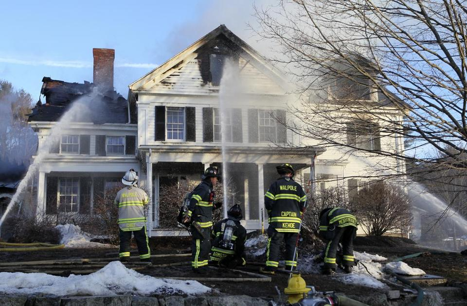 Firefighters battled the fire on Dover Road in Westwood.