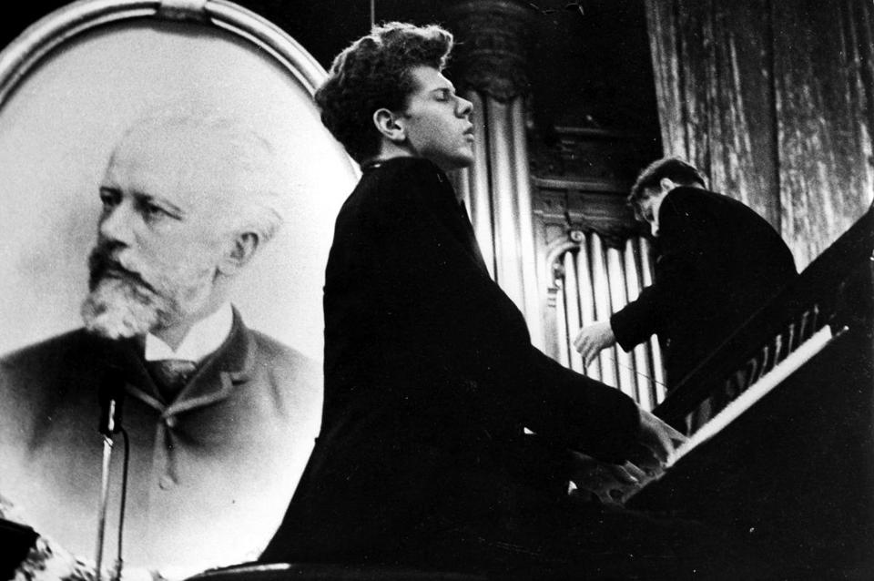 Van Cliburn, who died Feb. 27 at age 78, is pictured as a 23-year-old performing at the 1958 Tchaikovsky Piano Competition in Moscow.