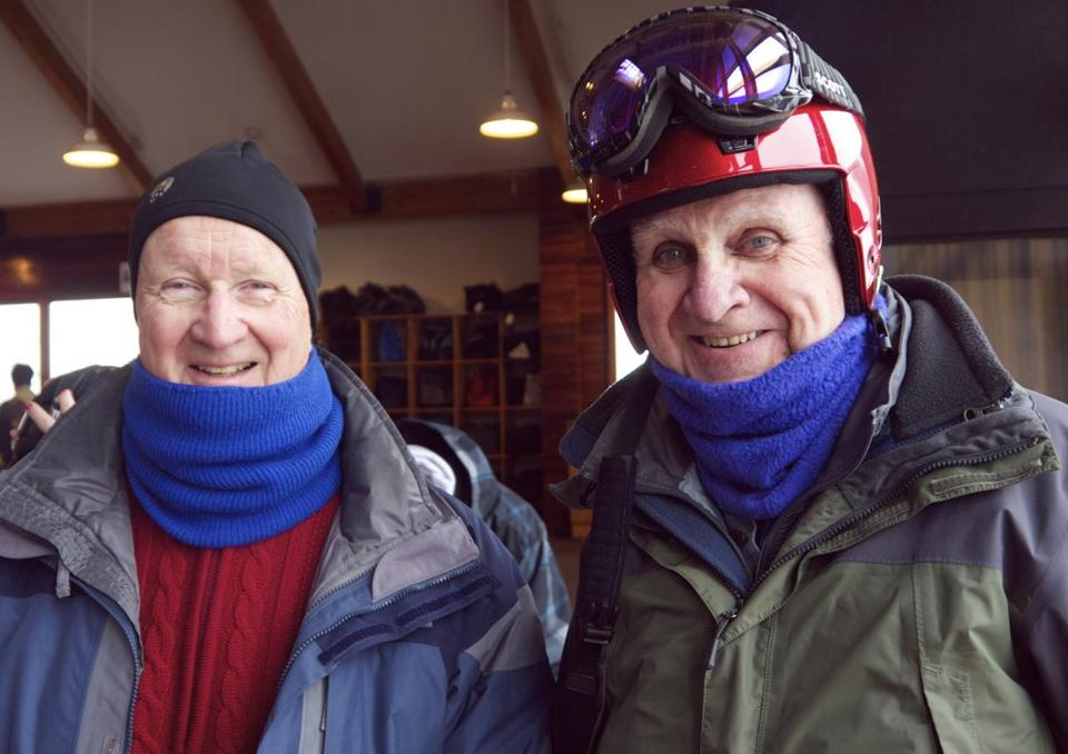 Frank Morse, left, 72, and Dr. Richard Culliton, 77, are members of the Hickory Dickory Docs Ski Club, a Boston-are ski club for seniors.