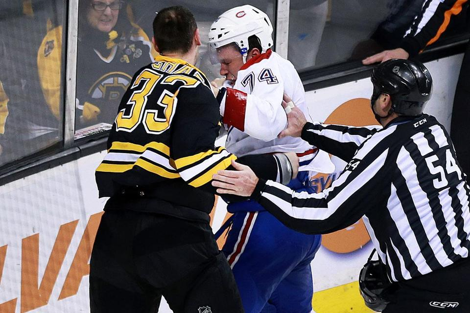 As Tyler Seguin scurried to the dressing room, Zdeno Chara delivered a string of uppercuts to Alexei Emelin's face.